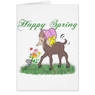 Happy Spring Goat Greeting Card