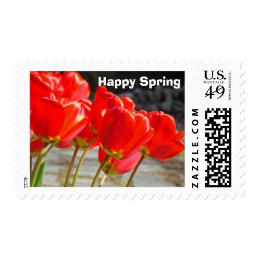 Happy Spring postage stamps Red Tulips Flowers
