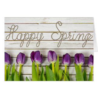 Happy Spring purple tulips Card