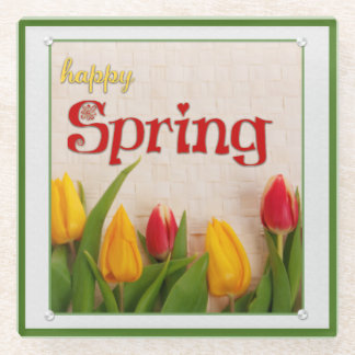 Happy Spring Red and Yellow Tulips Glass Coaster