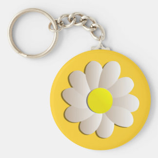 HAPPY SPRING TIME DAISY YELLOW  FRESH FLOWER KEYCHAIN