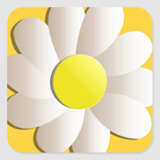 HAPPY SPRING TIME DAISY YELLOW  FRESH FLOWER SQUARE STICKER