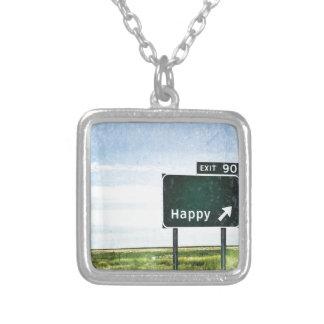 Happy Square Pendant Necklace