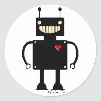 Happy Square Robot 1 Classic Round Sticker