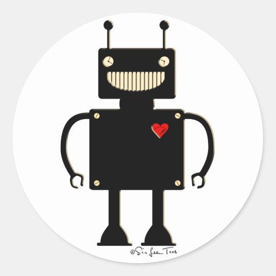 Happy Square Robot 1 Classic Round Sticker