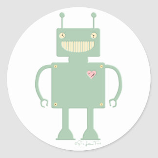 Happy Square Robot 2 Classic Round Sticker