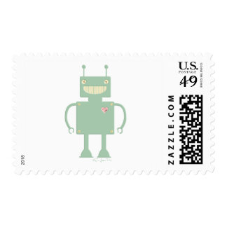Happy Square Robot 2 Postage Stamp
