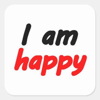 Happy Square Sticker
