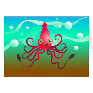 Happy Squid Greeting Cards