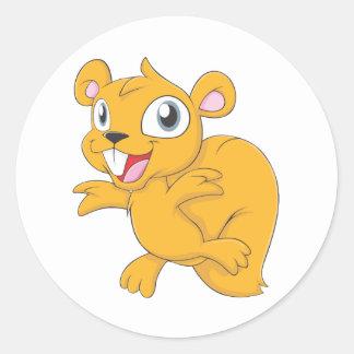 Happy Squirrel Cartoon Classic Round Sticker