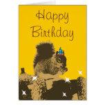 Happy Squirrel & His Nuts Birthday Card