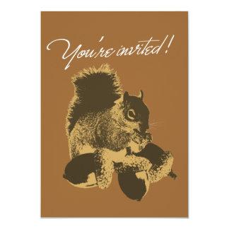 Happy Squirrel & Nuts Birthday Party Invitation