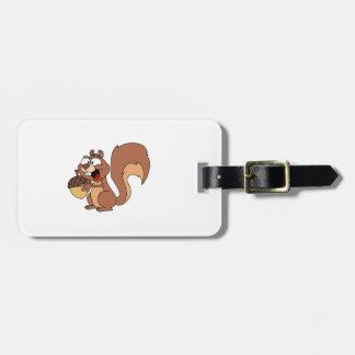 Happy Squirrel with Acorn Bag Tag