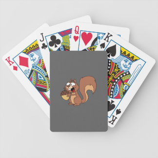 Happy Squirrel with Acorn Bicycle Playing Cards
