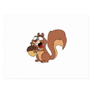 Happy Squirrel with Acorn Postcard