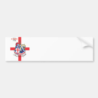 Happy St George Day Proud to Be English Retro Post Bumper Sticker