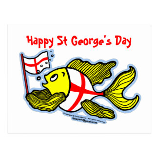 Happy St Georges Day fun cartoon english flag fish Postcard