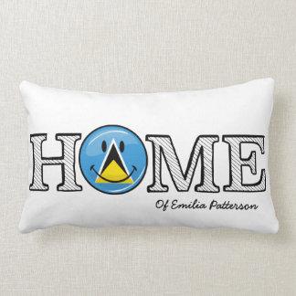 Happy St. Lucian Flag House Warmer Lumbar Pillow