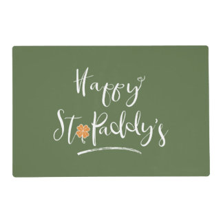 Happy St. Paddy's Orange Shamrock ID336 Placemat