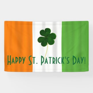 Happy St. Patrick Irish Colors Shamrock Banner