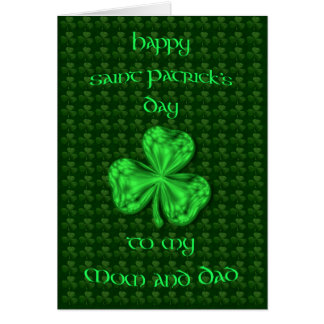Happy St. Patrick's Day Mom and Dad Shamrock Card