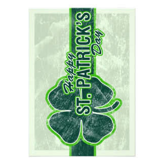 Happy St. Patrick's Day Shamrock Grunge Invitation