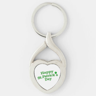 Happy St. Patrick´s Day Typographic Design Silver-Colored Heart-Shaped Metal Keychain