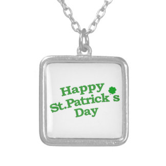 Happy St. Patrick´s Day Typographic Design Silver Plated Necklace