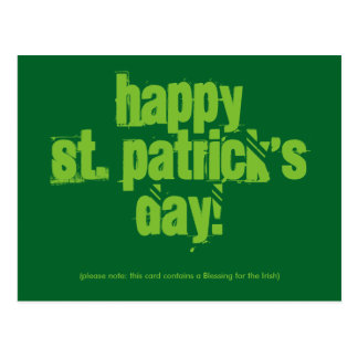Happy St. Patrick`s Day with Blessing, Postcard