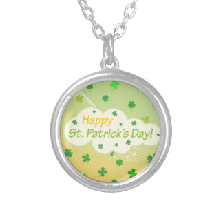Happy St Patricks Day 1 Silver Plated Necklace