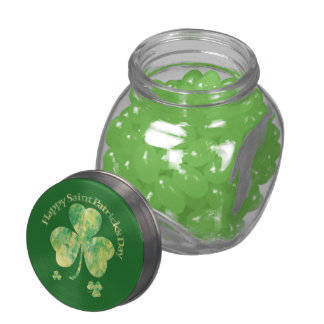 Happy St Patrick's Day & 3 leaf clovers Jelly Belly Candy Jars