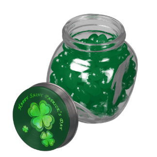 Happy St Patrick's Day & 4 leaf clovers Jelly Belly Candy Jars