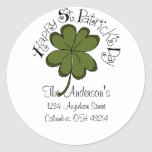 Happy St. Patrick's Day Address Labels Classic Round Sticker