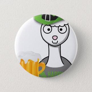 happy st patricks day alpaca pinback button