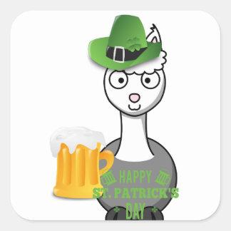 happy st patricks day alpaca square sticker