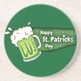 Happy St Patricks Day Beer Banner Sandstone Coaster