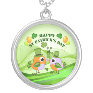 Happy St Patricks Day birds Silver Plated Necklace