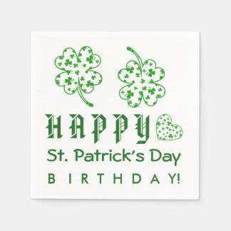 Happy St. Patrick's Day Birthday Shamrocks A03A Standard Cocktail Napkin
