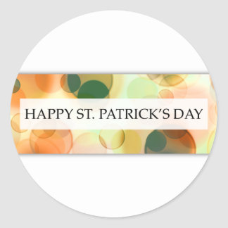 happy st patricks day (bokeh) classic round sticker
