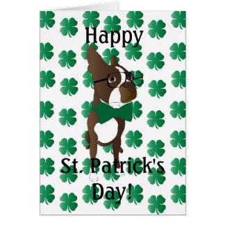 Happy St. Patrick's Day Boston Terrier Card