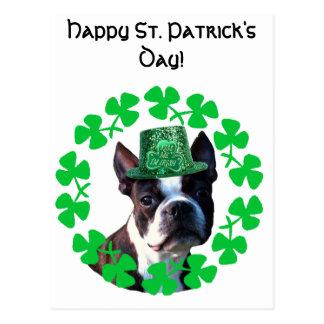 Happy St. Patricks Day Boston Terrier Postcard