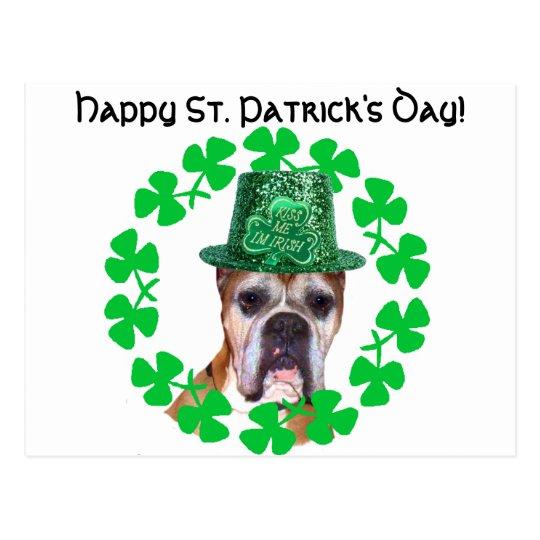 Happy St. Patrick's Day Boxer Dog postcard