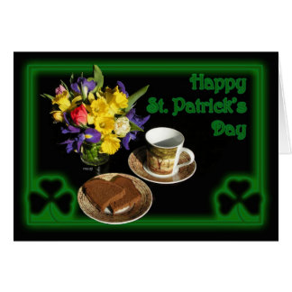 Happy St. Patrick's Day Card with spring flowers,