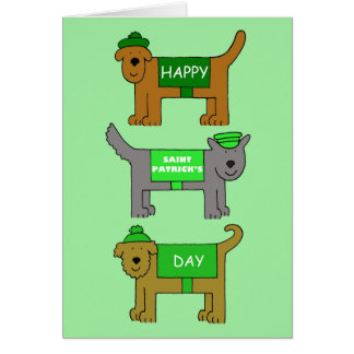 Happy St Patrick's Day cartoon dogs in outfits. Card