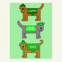 Happy St Patrick's Day cartoon dogs in outfits. Postcard