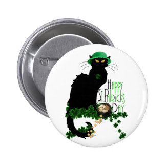 Happy St Patrick's Day Chat Noir Pinback Button