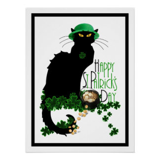 Happy St Patrick's Day Chat Noir Poster