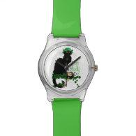 Happy St Patrick's Day Chat Noir Wristwatch