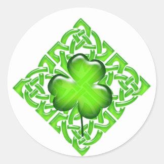 Happy St. Patrick's Day Clover Gift Round Sticker