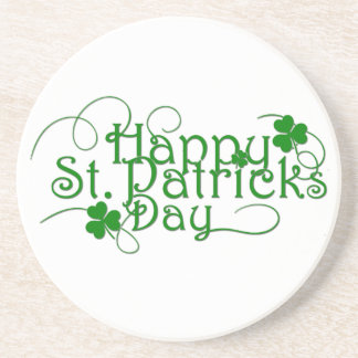 Happy St Patricks Day Cursive Drink Coaster